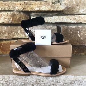 NWT & NIB! 💞UGG Fluff Springs Patent Sandal Flats